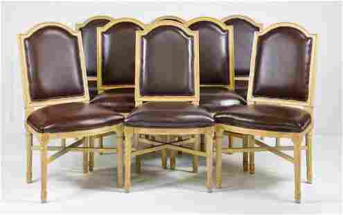 Set Of 8 Louis XV Style Painted Leather Chairs