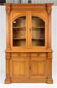 Large 4 Door Pine Bookcase / Cupboard