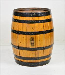 Chestnut Barrel Bar Cabinet