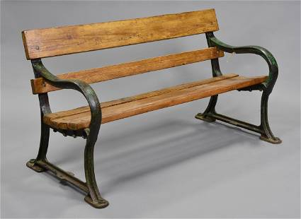 English Wood Slat Iron Garden Bench
