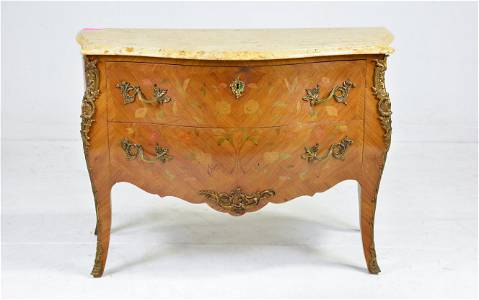 Louis XV Style Marble Top Inlaid 2 Drawer Chest