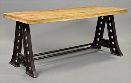 Iron Base Industrial Dining Table