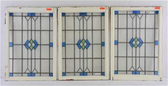 3 Blue / Green Diamond Stained Glass Window
