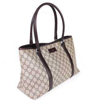Gucci Vintage joy Tote in Brown Leather Supreme Canvas