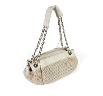 Chanel LAX Accordion - Ivory Leather Woven Canvas