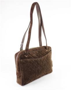 Chanel Quilted Suede Leather Front Pocket Shoulder Bag