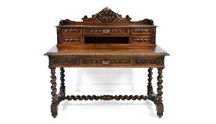 Louis XIII Style Carved Barley Twist Desk