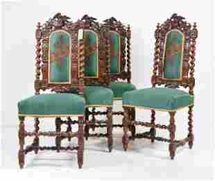 Set Of 4 Louis XIII Style Carved Barley Twist Chairs