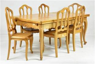 Country French Draw Leaf Table & 6 Chairs