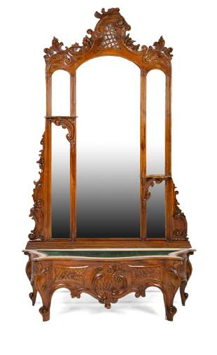 Louis XV Style Carved Mirror Back Hall Planter