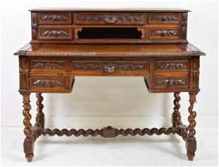 French Carved Oak Barley Twist Desk