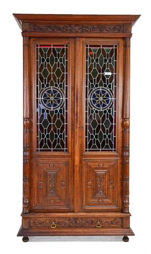 French Carved Oak Stained Glass Cupboard #1
