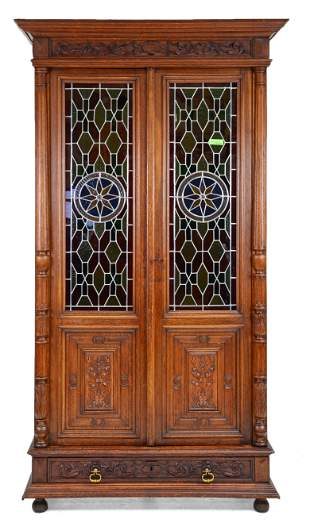 French Carved Oak Stained Glass Cupboard #2