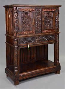 Gothic Carved Oak Creedence Cupboard