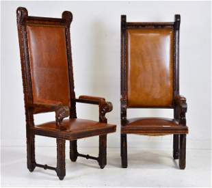 Pair Large High Back Oak Arm Chairs