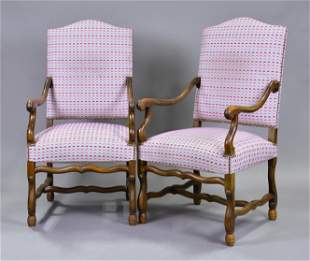 Pair Large Louis XIII Style Mouton Arm Chairs