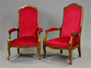 Pair Louis Philippe Style High Back Arm Chairs