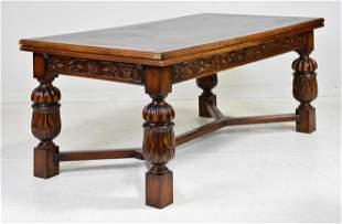 Large Carved Oak Draw Leaf Table
