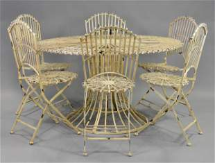 Round English Garden Table & 6 Folding Chairs