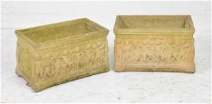 Pair Small Concrete Planters With Figural Motif