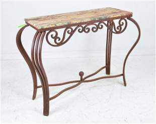 Stone Top Iron Base Console Table