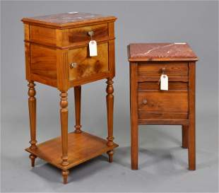 2 Louis XVI Style Marble Top Pot Cupboards
