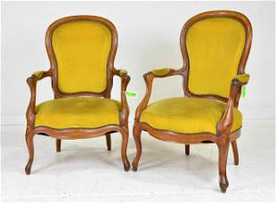Pair Napoleon III Style Upholstered Arm Chairs