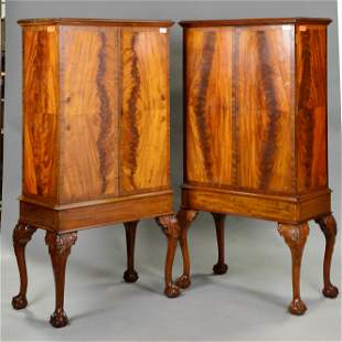 Pair English Mahogany Ball & Claw Cupboards