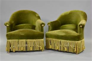 Pair Low French Green Upholstered Chairs