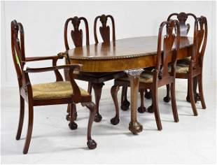 Chippendale Style Oval Dining Table & 6 Chairs
