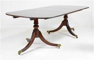 George III Style Mahogany Double Pedestal Base Table