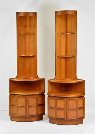 Pair of Mid Century Modern Corner Cabinets