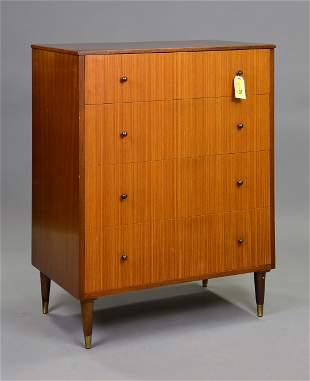 Mid Century Modern 4 Drawer Chest with Metal Knobs