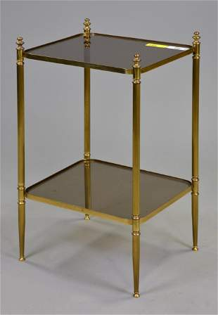 Two Tier European Brass & Glass Table / Stand