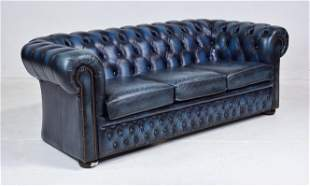 British Leather Tufted Blue Chesterfield Sofa