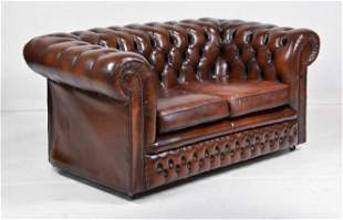 British Brown Leather Chesterfield Loveseat