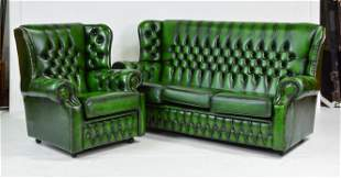 Green Leather Chesterfield Monks Back Sofa & Chair