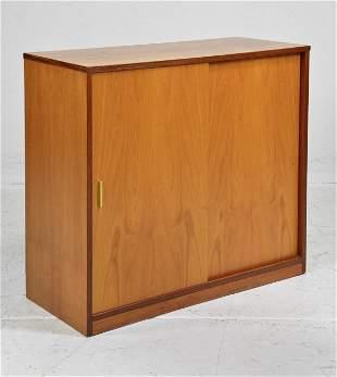 Mid Century Modern Two Door Cabinet with Metal Handles