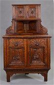 Victorian Heavily Carved Oak Corner Cupboard