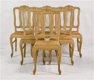 Set Of 6 Country French Bleached Oak Chairs