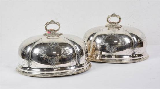 Set of Two Silver Plate Meat Domes