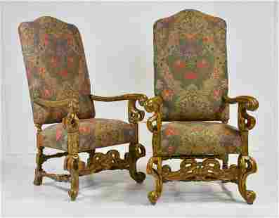 Pair High Back Upholstered Chairs