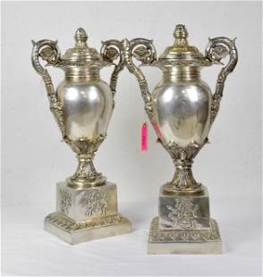 Pair tall bronze urns with silver overlay