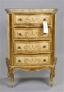 Italian 4 drawer Chest white with gold
