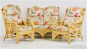 Bamboo / Rattan / Wicker Sofa & 2 Chairs Palm Leaf Side