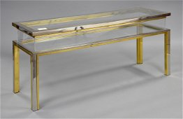 European Brass, Metal & Display Table With Sliding Top