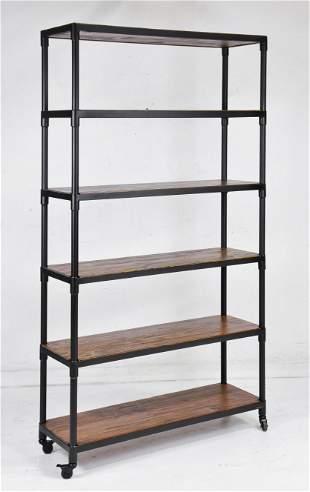 Industrial 6 Tier Wood / Metal Rolling Shelf #2