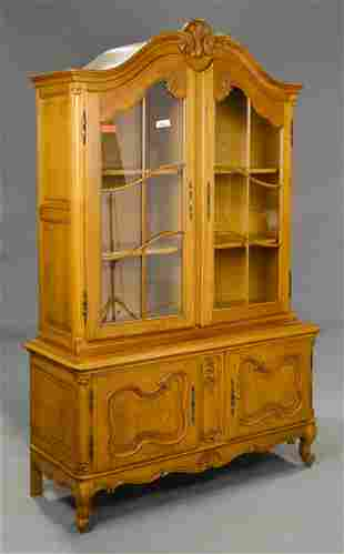 Country French Oak Display Cabinet / Cupboard