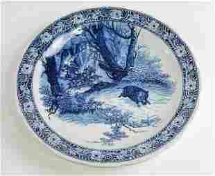 Large Delft / Blue & White Charger - Hunt Scene - Boch
