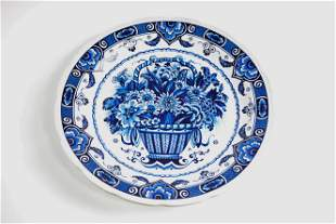 Large Delft / Blue & White Charger - Floral - Boch